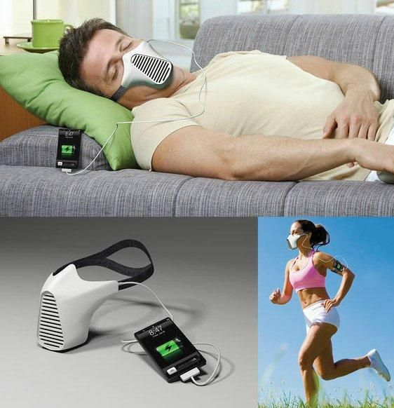 AIRE mask charges iPhone with your breath...excuse me...whaaat?
