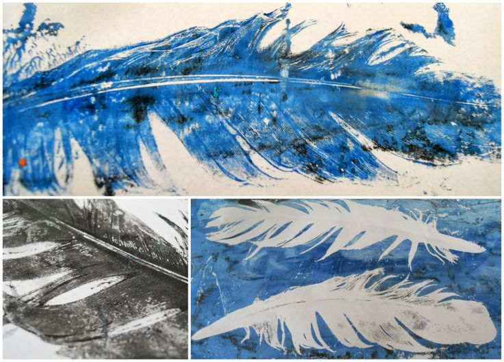 Anne-Mette Larsen - Gelli printing with feathers, different papers and different pressures - great results!
