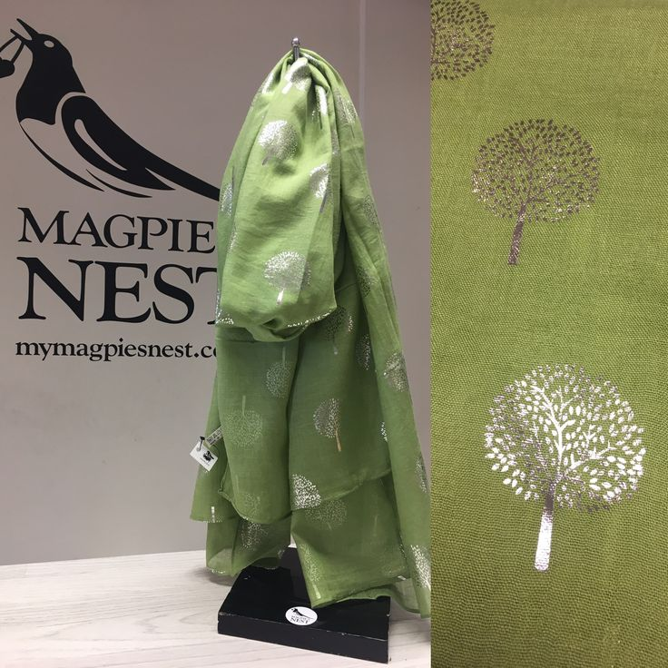Foil tree print in green, available in store and online www.mymagpiesnest.com