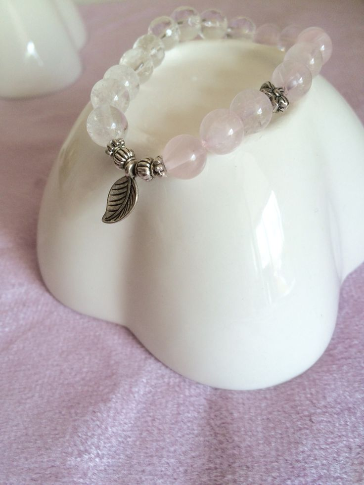 Rock crystal * Rose quartz stretch bracelet _ by So.