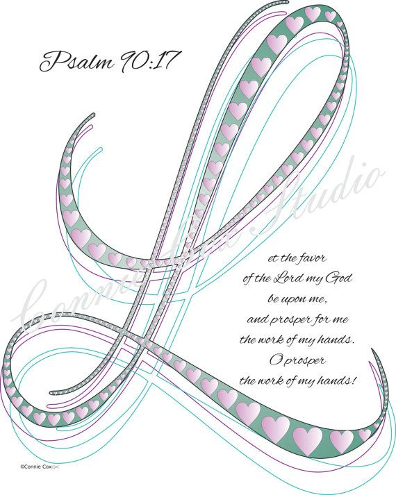 Instant Digital Download, Love Lines, Letter L, for Let the favor of the... Psalm 90:17, Abstract, Doodle, Drawing, Calligraphy, Print, Teal...