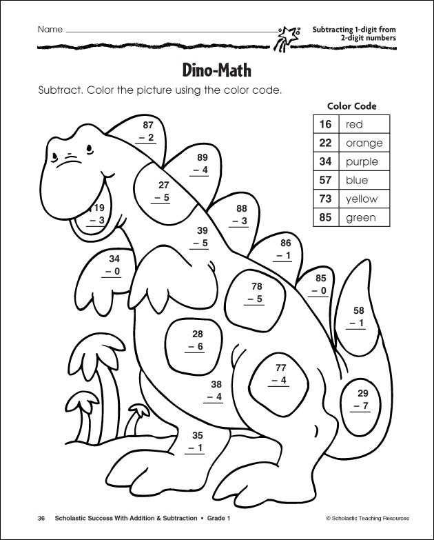 Subtraction Color By Number And Worksheet For Kids Math Coloring Worksheets Math Subtraction Color Worksheets