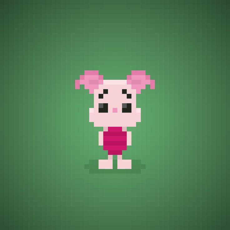 Famous Characters in Pixel Art • Piglet or Pimpi from Winnie the Pooh cartoons #piglet #pimpi #winniepooh #pooh #bear #disney #toy #honey #cartoons #cartonianimati #thinkthinkthink #pixelart #pixel #16bit #orsettopooh #orsetto