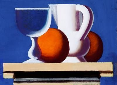 Still life with glass, white jug and two oranges by Vilhelm Lundstrom