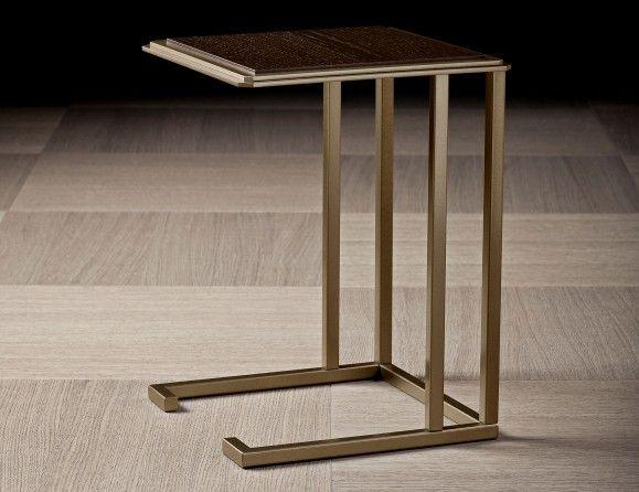 Nice Lusso Eddy Luxury Italian Designer End Table In Mocha Oak Wood Structure  With Base In Bronze