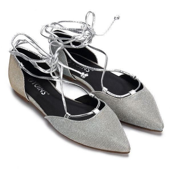 Yoins Sliver Glitter Embellished Pointed Toe Lace-up Flats (140 RON) ❤ liked on Polyvore featuring shoes, flats, silver, lace up pointed toe flats, silver flat shoes, flat pumps, pointy-toe flats and silver glitter flats