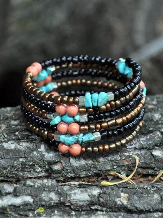 This beaded bracelet is made of an eclectic mix of beads as shown. Strung on memory wire. Has 6 layers. One size fits most.