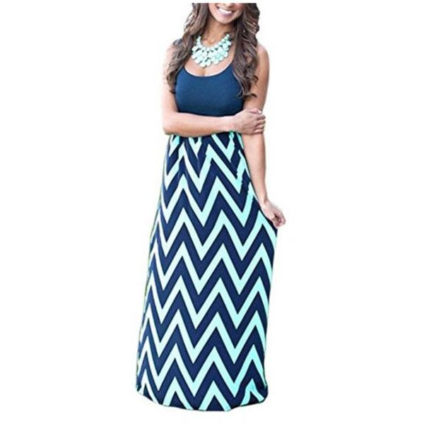 Women's Sleeveless Empire Chevron Striped Beach Boho Maxi Long Dress ($7.99) ❤ liked on Polyvore featuring dresses, navy, beach dresses, navy maxi dress, blue maxi dress, long navy dress and navy blue long dress