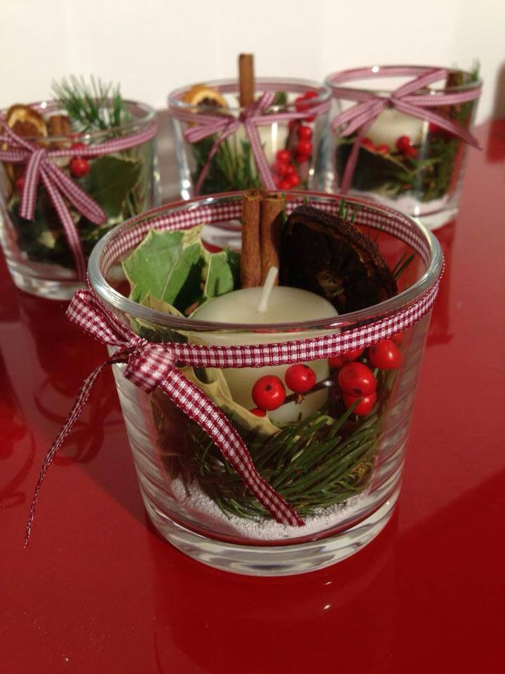 Christmas candle in a vase: with vegetable decoration.