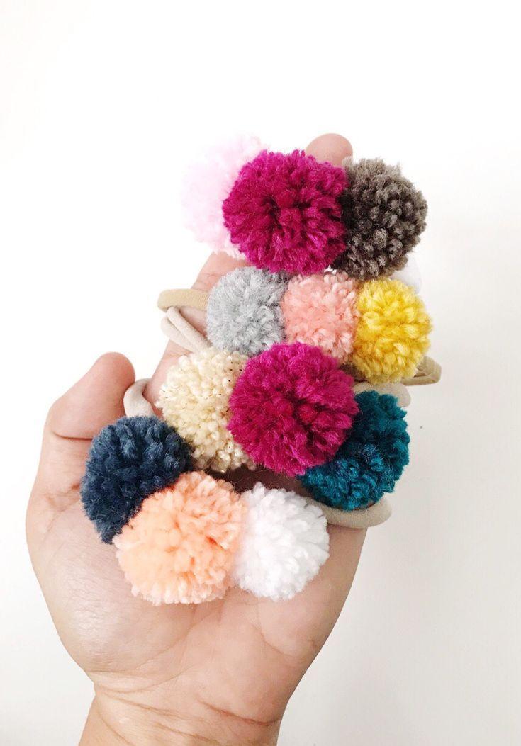 Handmade PomPom Baby Toddler Headbands | Littlesmodern on Etsy