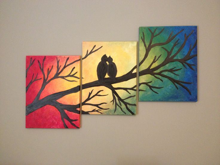 Diy canvas painting tree with love birds my paintings Diy canvas painting designs