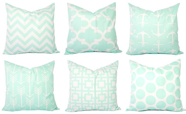 Mint Pillow Covers - Mint Throw Pillows - 20 x 20 Inch Pillow Covers - Mint Decorative Pillows - Mint Accent Pillow - Nursery Pillows (32.00 USD) by CastawayCoveDecor