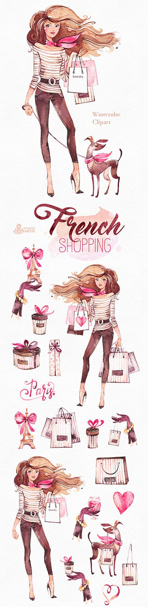 French Shopping Watercolor Fashion Clipart Shoes By OctopusArtis
