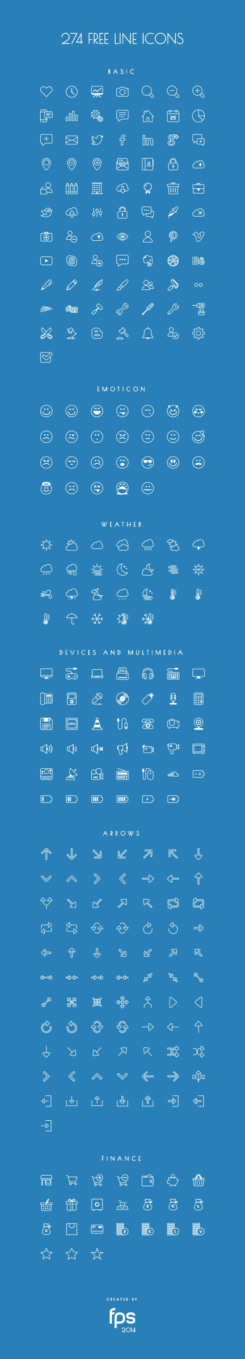 274 Vector Line Icons by fps web agency