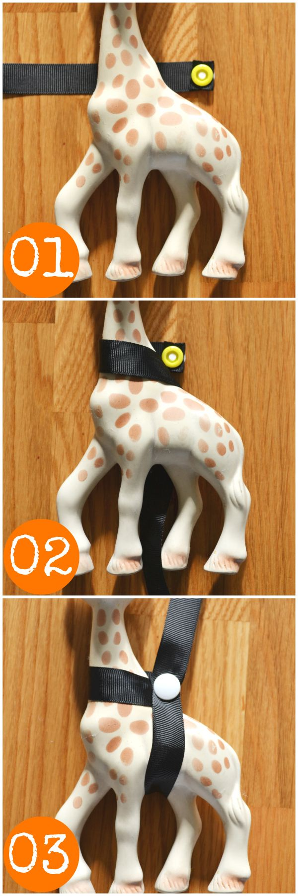 This is soo ADORABLE... a Baby Teether in the shape of a Giraffe!!! You can make lots of cute Straps to keep her secure too!... LOVE IT!!!