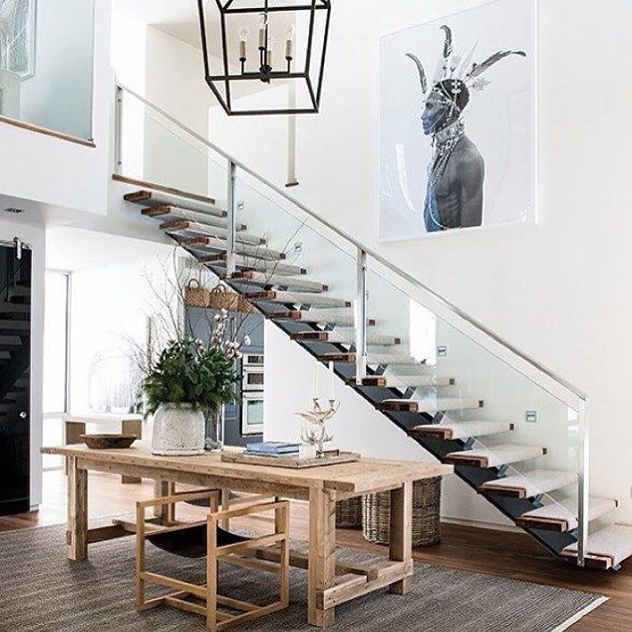#Stairs Inspiration - open rail open tread feature staircase #designfabulous #architectural  Via @houseandhomemag