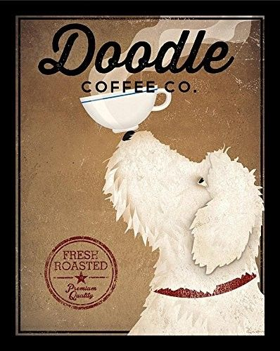 'White Labradoodle Coffee Company' by Ryan Fowler Framed Vintage Advertisement