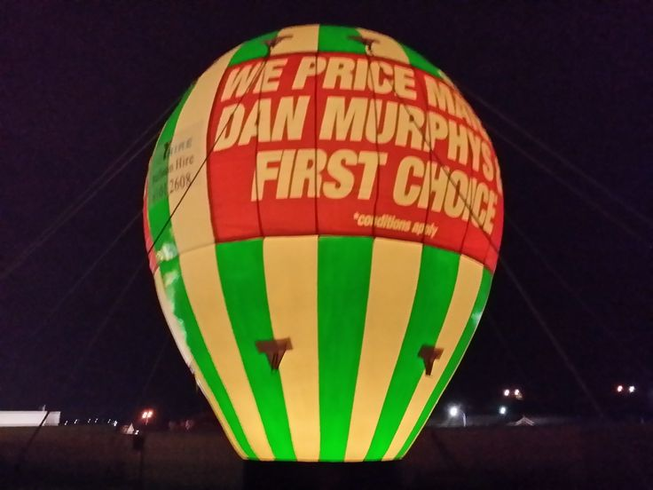 Sweet shot of one of our balloons lit up at night time.