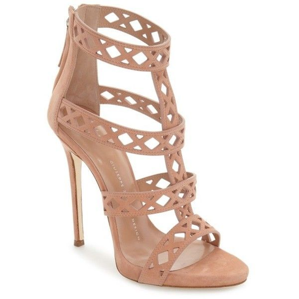 GIUSEPPE ZANOTTI Geometric Cage Sandal ❤ liked on Polyvore featuring shoes, sandals, caged shoes, laser cut shoes, suede sandals, giuseppe zanotti sandals and suede leather shoes