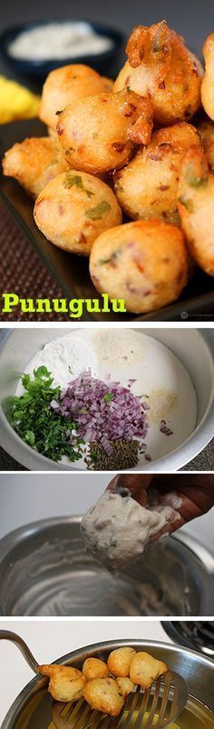 Punugulu   Idli Batter Bonda - An extremely quick snack which you can make in no time. All you need is some left over idli batter and a few basic ingredients from your pantry.
