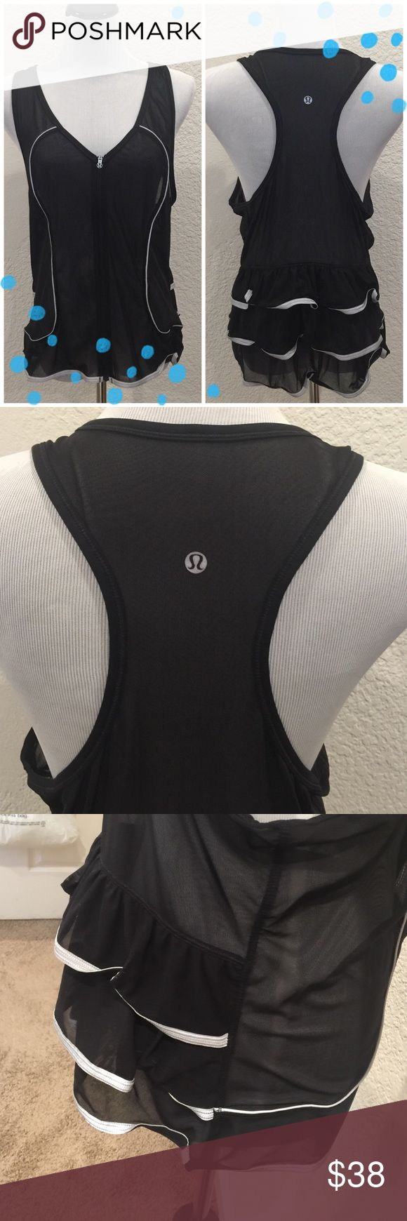 Lululemon black zip up running vest Super cute Lululemon black zip up running vest. And ruffles in the back with reflective matireal; perfect for outdoor running. Great used condition. Does not have the size tag or dot, but fits like a medium-large depending on how many layers you wear under it! lululemon athletica Jackets & Coats Vests