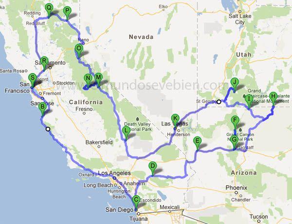 Ruta por la costa oeste USA