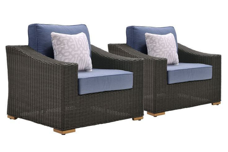La-Z-Boy Outdoor New Boston Patio Wicker Lounge Chairs (2 Pack), Denim Blue. Bring Quality La-Z-Boy Outdoor Furniture to your patio and experience the relaxing comfort and quality known to La-Z-Boy. Perfect for deck, porch, firepit,and poolside relaxing, conversation, and drinks. Transitional styling and neutral gray frames add a stylish flair to any outdoor area. Quick-drying deep denim blue seat cushions and chic geometric pattern toss pillows are covered in all weather premium…