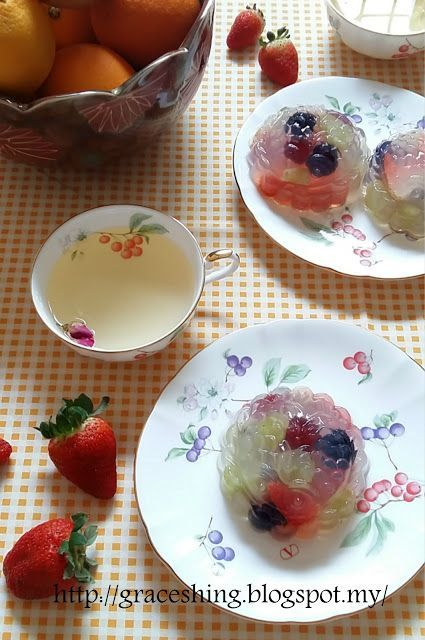 Grace's Blog 欣语心情: 水果水晶燕菜月饼 Fruit Konnyaku Jelly Mooncakes