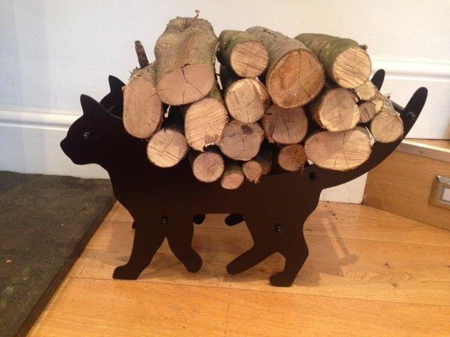 Cat Log Holder Fireplace Wood Firewood Steel Carrier Basket Rack