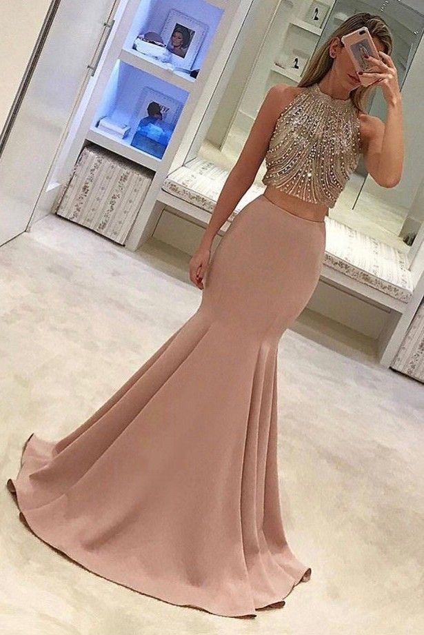 Gorgeous Pink Two-Piece Beading Mermaid Long Prom Dresses