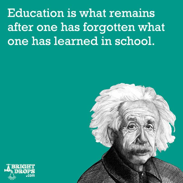 """""""Education is what remains after one has forgotten what one has learned in school."""" -Albert Einstein"""