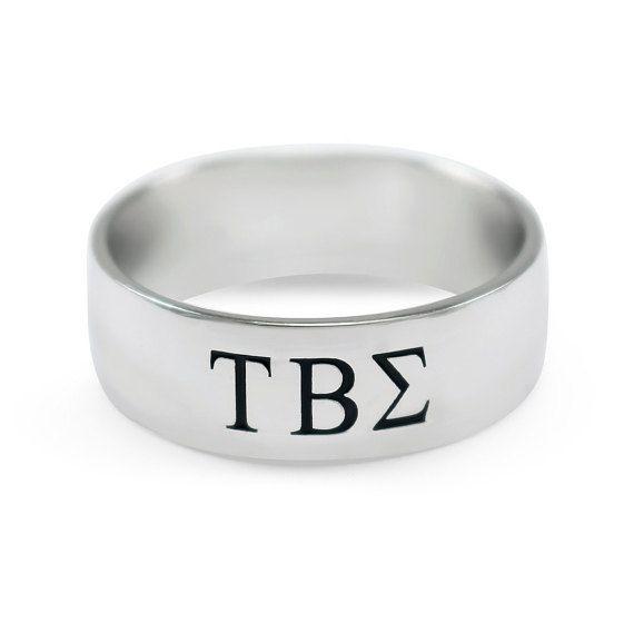 Tau Beta Sigma bague large bande en argent Sterling / / Music Co Ed sororité / / anneaux / / cadeaux de l