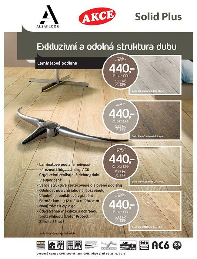 Řada laminátových podlah ALSAFLOOR SOLID PLUS představuje dekory dubu se synchronní strukturou pórů dřeva v silně realistické úpravě Heliochrome. Plovoucí podlaha vypadá jako matně naolejované dřevěné prkno s jemně lesklými póry. Velmi přesvědčivý povrch olejované dřevěné podlahy je navíc velmi praktický, nezůstávají na něm stopy bosých nohou, a odolává i hrubšímu zacházení a to vše za velmi, velmi atraktivní cenu. http://podlahove-studio.com/107-solid-plus