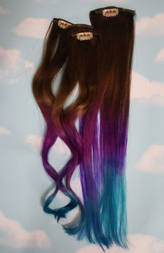Blue and Purple Hair Extensions Purple & Turquoise by Cloud9Jewels