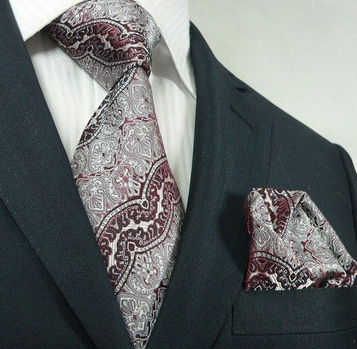 Landisun 62K Burgundy Novelty Pattern Mens Silk Tie Set: Tie+Hanky Hook