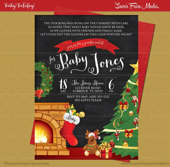 Chalkboard Holiday Gender Reveal Party by SavoirFaireMedia on Etsy