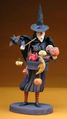 Halloween folk art  wood carving