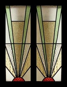 Art Deco Stained Glass Windows | ... Best Art Deco Sunburst Stained Glass Sidelight Pair of Windows | eBay