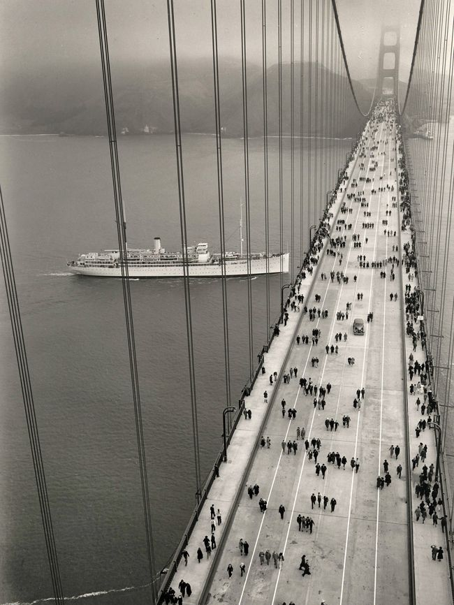 Golden Gate bridge - opening day. 1937..salt air and cold wind