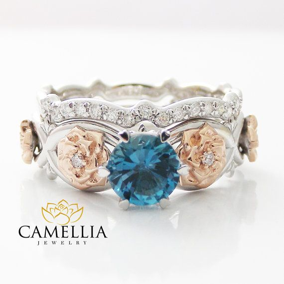 Blue Topaz Wedding Band Set, White Gold Floral Wedding Ring, Unique Engagement Rings