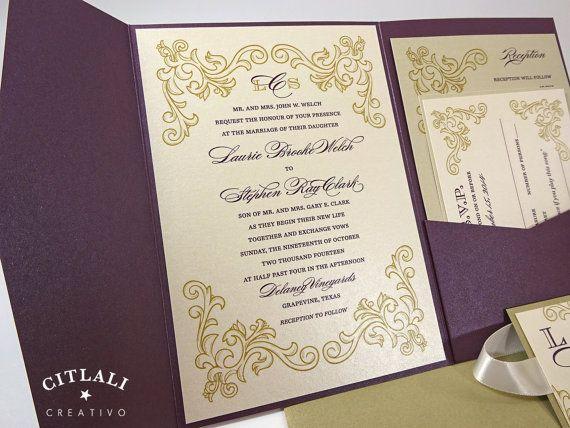 Elegant Plum & Gold Wedding Invitations  Plum Pocket by citlali