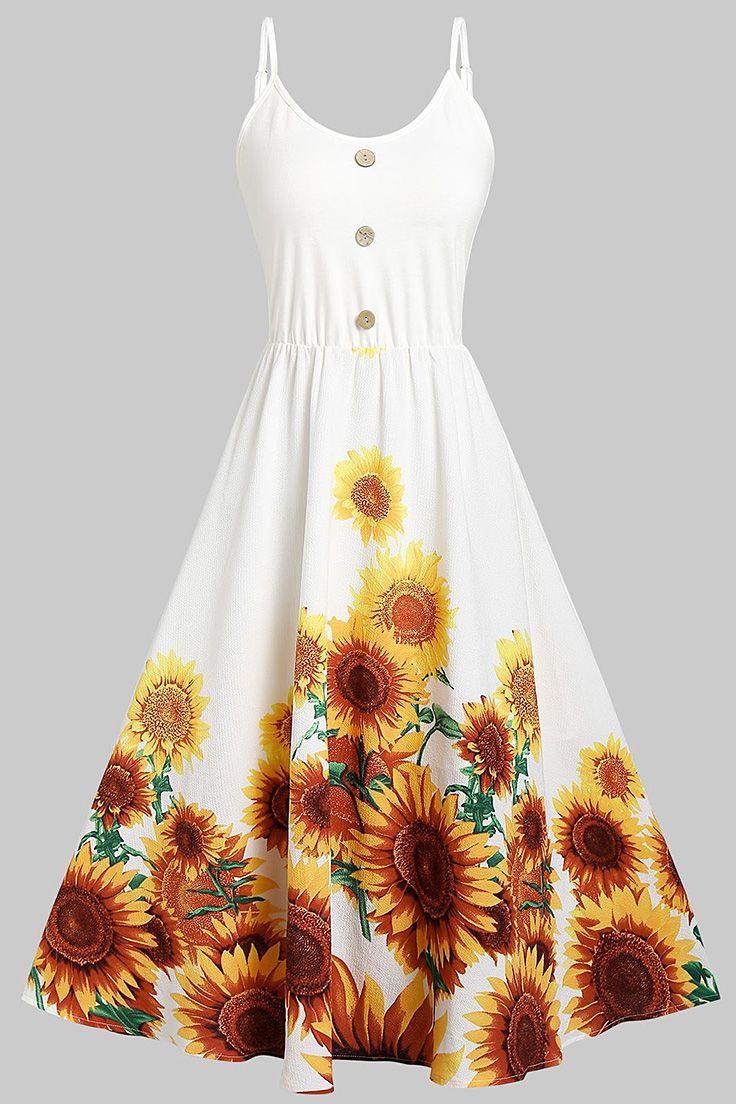 Cami Sunflower Print Button Dress Dresses Cheap Dresses Casual Casual Dresses [ 1104 x 736 Pixel ]