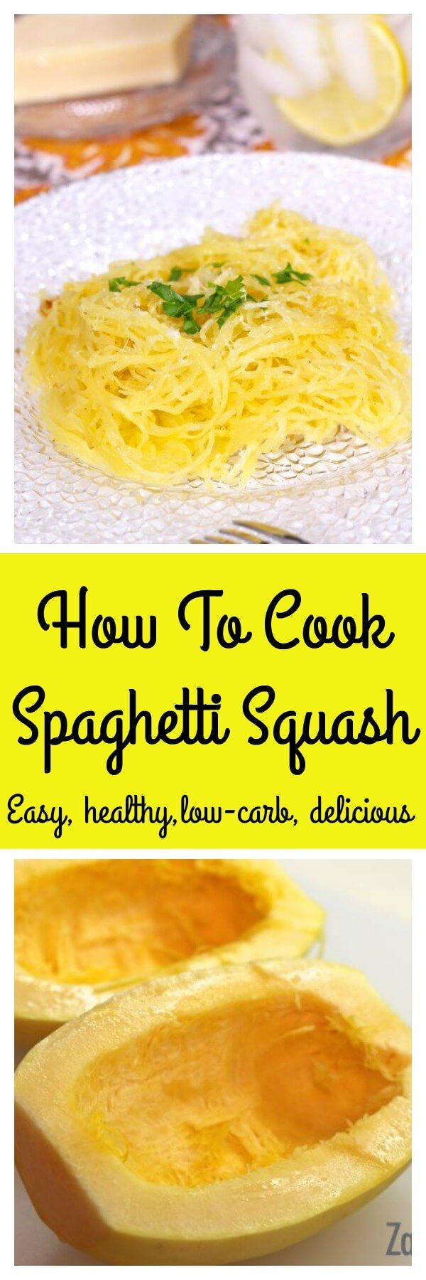 How To Cook Spaghetti Squash, an easy step-by-step recipe with photos and a video. Spaghetti Squash is a flavorful low carb alternative to pasta.   zagleft.com