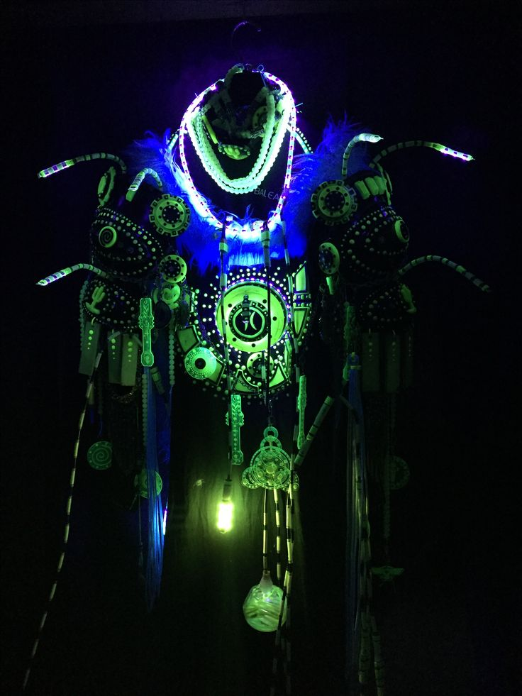 New UV LED shoulder lights on my Techno Shaman costume #technoshaman #lighting #led #costume #cosplay #burningman #burningmancostume #uvreactive #blacklights #fluorescent #glowingthedark #glow #limegreen