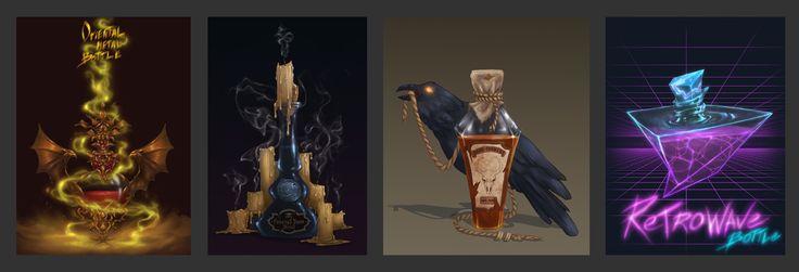 Music Styles As Bottles, Anna Nikitina on ArtStation at https://www.artstation.com/artwork/yRk2R