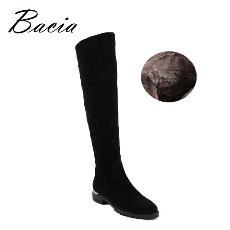 Find More Women's Boots Information about Bacia Fashion Black Over Knee Boots Suede Leather Boots With Warm Plush…