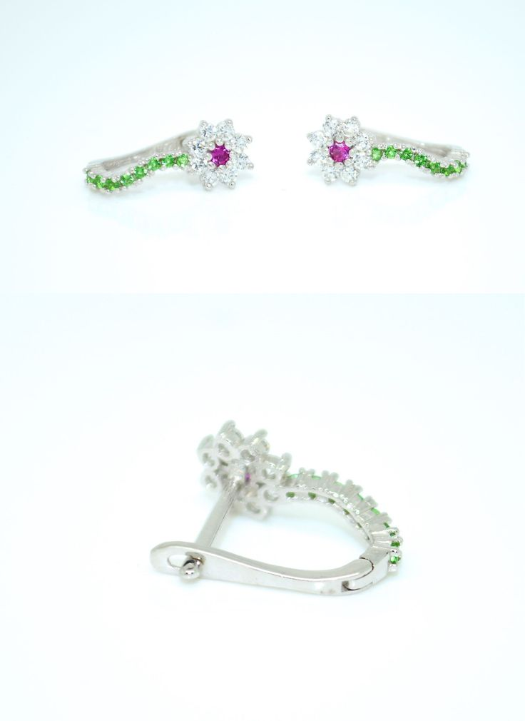 Earrings 98476: 14K White Gold Cz Green Pink Flower Huggie Earrings For Baby And Children S -> BUY IT NOW ONLY: $79.99 on eBay!