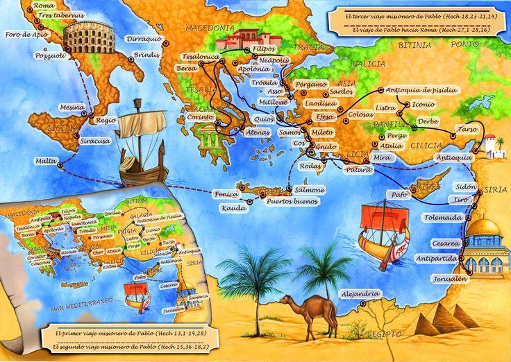 Mapas De Viajes De Pablo | Mapa de los viajes de San Pablo - Emilio Lopez - Ilustración - 73380