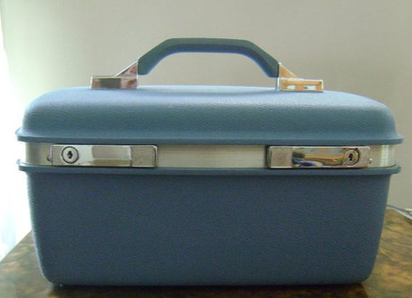 I just bought a vintage Samsonite train case at the Goodwill Outlet store. Mine is missing the insert shelf, but it's in very good condition otherwise. I think I paid $.84 for it!