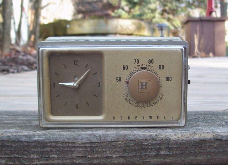 Vintage 1960's Honeywell Electric Clock Thermostat